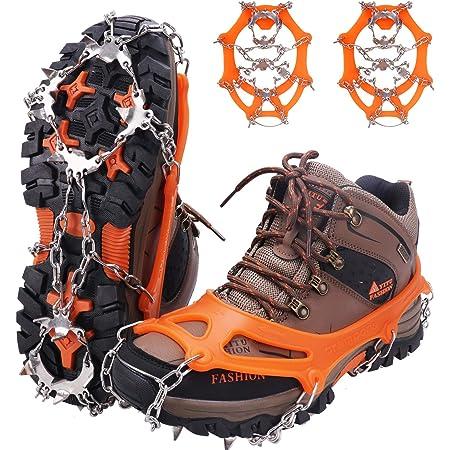 WIN.MAX Crampones, 19 Garras de Dientes Crampones Cubierta Antideslizante de Zapatos con Cadena de Acero Inoxidable para Excursiones Pesca Escalada Trotar Montañismo Caminata sobre Nieve y Hielo