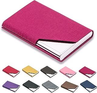 esdrem Porte-cartes de crédit en cuir Business Carte didentité Étui style livre de 60Carte Nom Support livre rouge BUSINESS-CARD-HOLDER-002