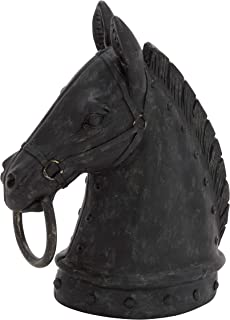 "Deco 79 44723 Polystone Horse Head Decor Product, 9""W/12""H"