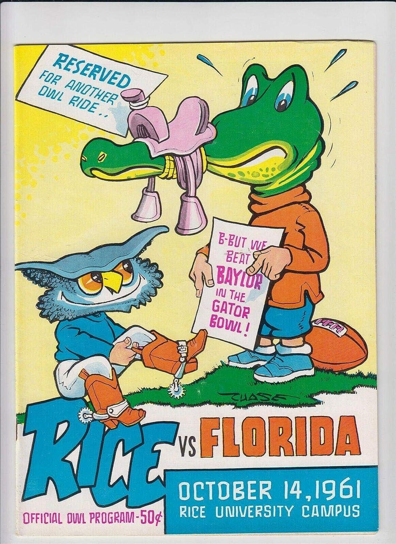 1961 Florida Gators v Product Rice Owls 14 Chase service Football Program 10 Cov