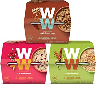 WW Instant Oatmeal Variety Pack- Apple Cinnamon, Maple Brown Sugar, Cranberry Orange - 3 SmartPoints - 4 of Each Flavor (12 Count Total) - Weight Watchers Reimagined