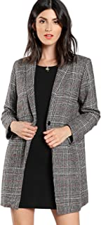 SheIn Women's Lapel Collar Coat Long Sleeve Plaid Blazer Outerwear