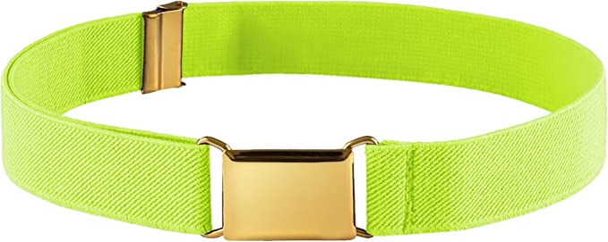FIT RITE Kids Elastic Adjustable Stretch Belt With Gold Square Buckle
