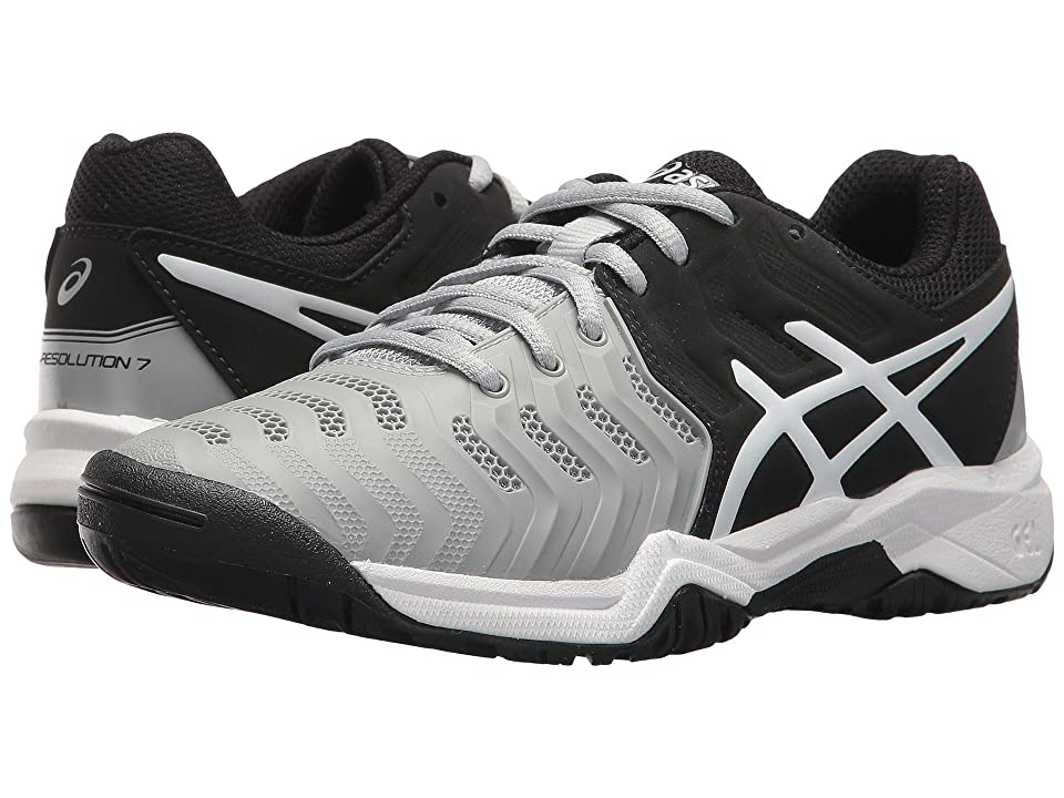 ASICS Kids GEL-Resolution(r) 7 GS Tennis (Little Kid/Big Kid) (Mid Grey/Black/White) Boys Shoes