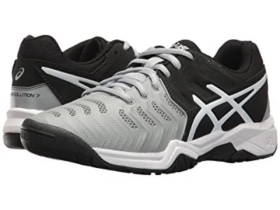 ASICS Kids GEL-Resolution(r) 7 GS Tennis (Little Kid/Big Kid) (Mid Grey/Black/White) Boys Shoes