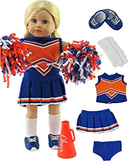 American Fashion World Orange and Blue Cheerleading Outfit with Accessories Made for 18 inch Dolls Such as American Girl D...