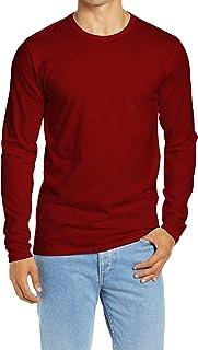 Decrum Plain Long Sleeve Shirt Men - Soft Cotton Full Sleeves Jersey