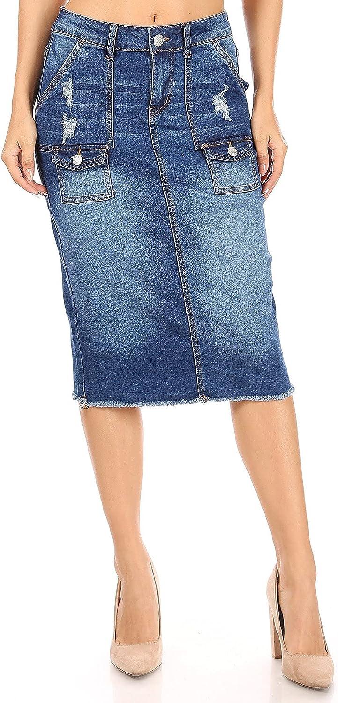 Fashion2Love Women's Juniors/Plus Size Mid - Length Pencil Stretch Denim Skirt (77875)