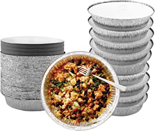 55 Pack - 7 Inch Round Aluminum Pans, with Cardboard Lids. Round Tins for Baking and Food Transport. Round Foil Pans. Tins...