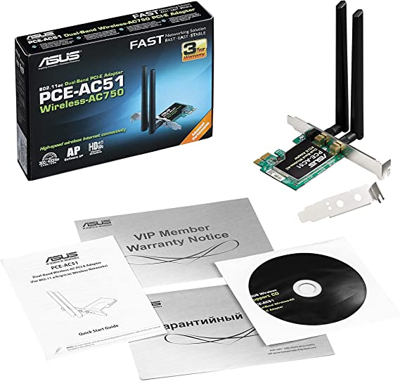 ASUS PCE-AC51 -Tarjeta de Red Wi-Fi PCI-e AC750 (Dual-Band, WEP/WPA/WPA2, Antenas Removibles)