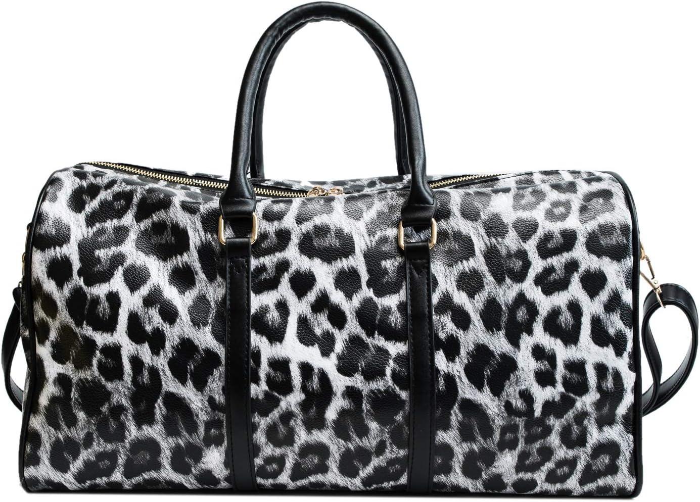QUARKERA Leopard Leather Weekender Travel Bag for Women Girls Cheetah Animal Print Duffle Overnight Tote Shoulder Bags Large