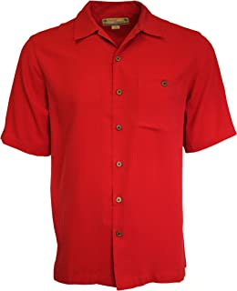 Beyond Paradise Mens 100% Silk Solid Shirt Red Large