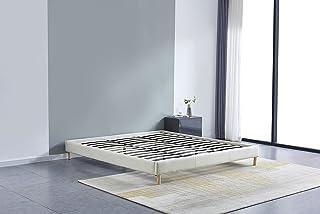 Lit futon Double avec sommier et Pieds Bois, revêtement en Tissu Blanc (180_x_200_cm)