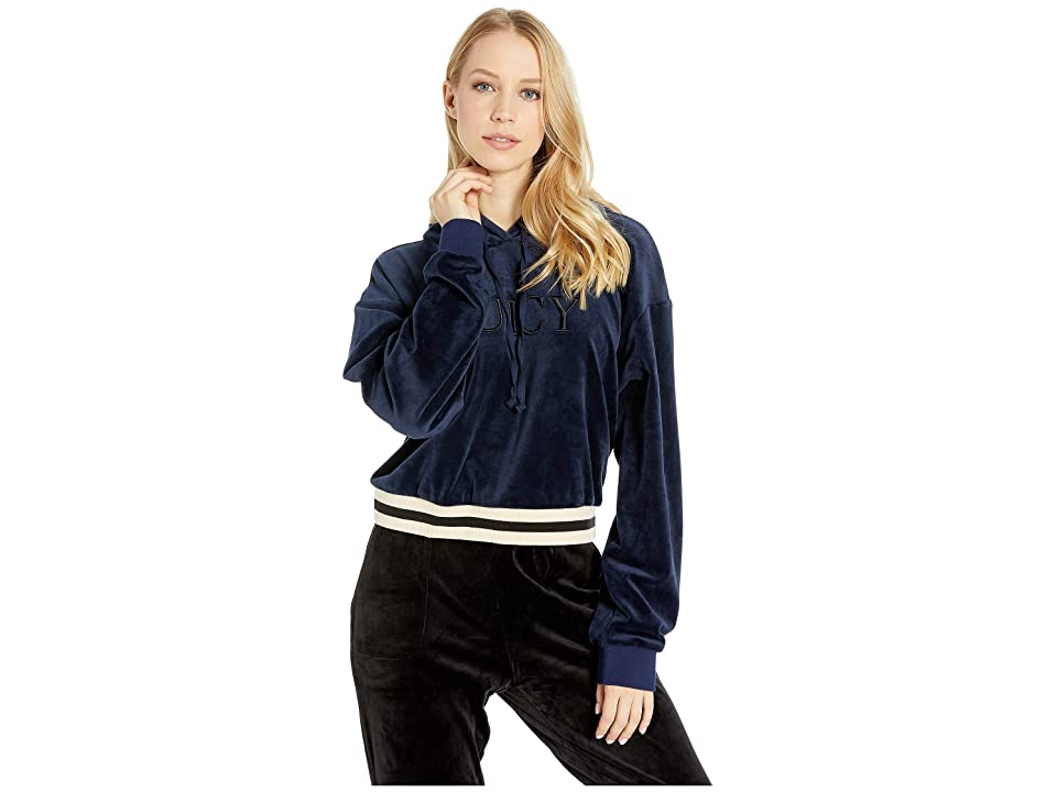 Juicy Couture Luxe Velour Hooded Pullover (Royal Navy) Women