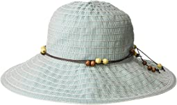 RBM5572 - Medium Brim Ribbon Hat with Wooden Bead Trim