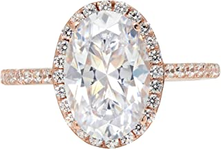 3.28ct Brilliant Oval Cut Halo Statement Wedding Anniversary Engagement Bridal Ring 14k Rose Gold
