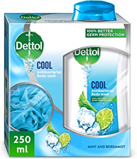 Dettol Cool Anti-Bacterial pH-Balanced Body Wash 250ml With Scrub Sponge - Mint & Bergamont