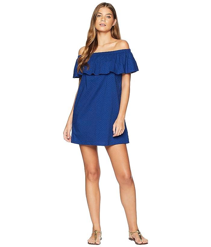 Lucky Brand Belle-Air Off the Shoulder Ruffle Dress Cover-Up (Navy) Women