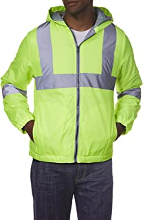 Arctic Quest Mens Full Zip High Visibility Hoodie Jacket with Reflective Safety Detail, Class 2