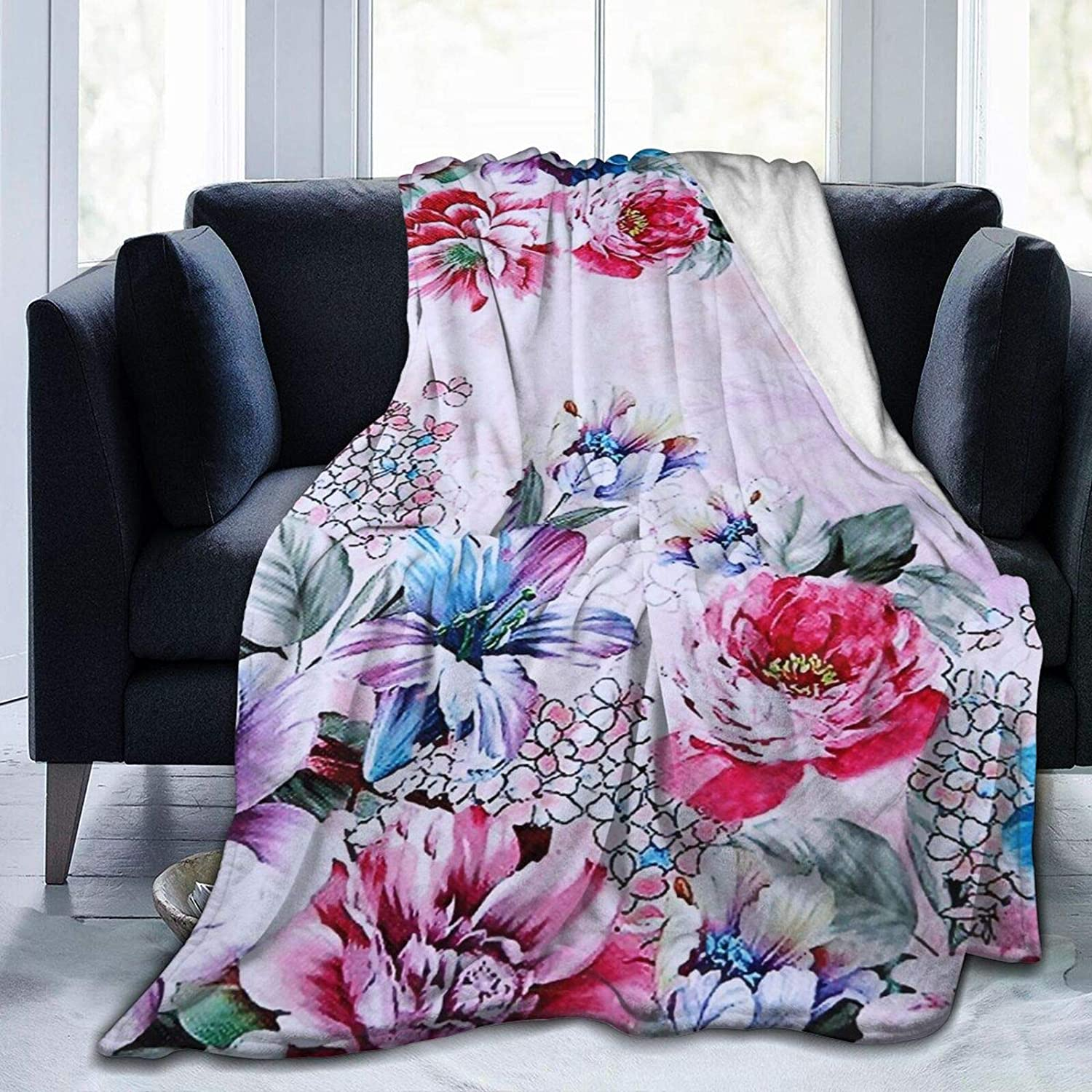 Kimisoy Max 64% OFF Blanket Wild Rose Bargain Breathable Thr Pattern Flannel
