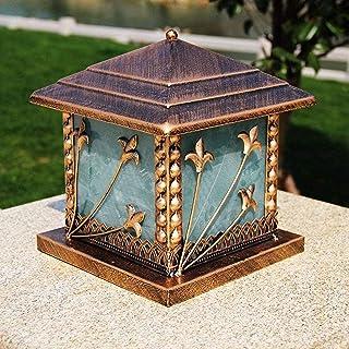Square Metal Column Post Light Rainproof Waterproof Outdoor Courtyard Lawn Pillar Lamp Home Decor Villa Garden Wall Sconce...