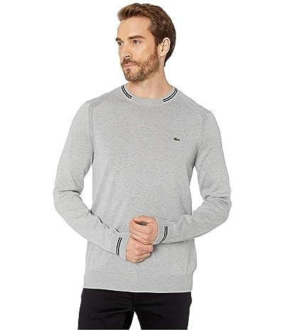 Lacoste Long Sleeve Jersey Semi Fancy Sweater Classic (Silver Chine/Sinople/Flour) Men