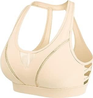 Womens Sports Bra High Impact Wirefree Hook-and-Eye Closure Workout Bra 8204
