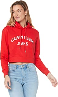 Calvin Klein Jeans Women's Institutional Curved Logo Crop Hoodie