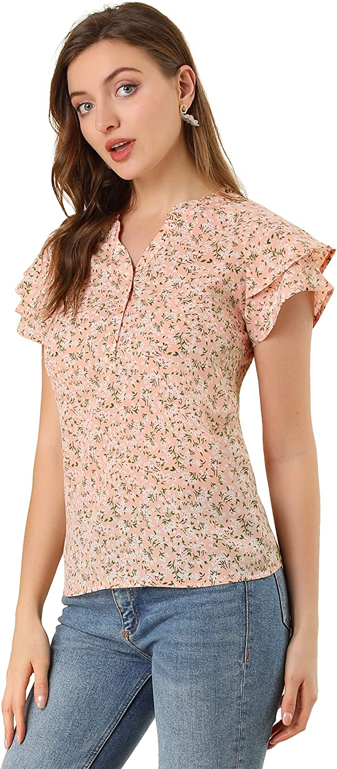 Allegra El Paso Mall K Women's Casual High material Floral Print Top Down Sleeve Cap Button