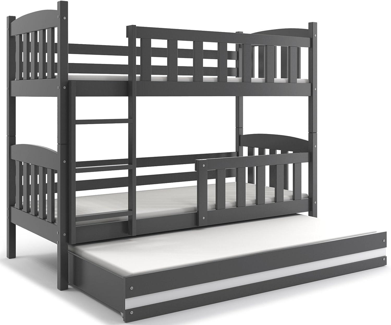 Interbeds Etagenbett QUBA 3 (für Drei Kinder) 190x80 mit Lattenroste, Matratzen in WEIβ, GRAU, Erle und Kiefer (grau + weiβ)