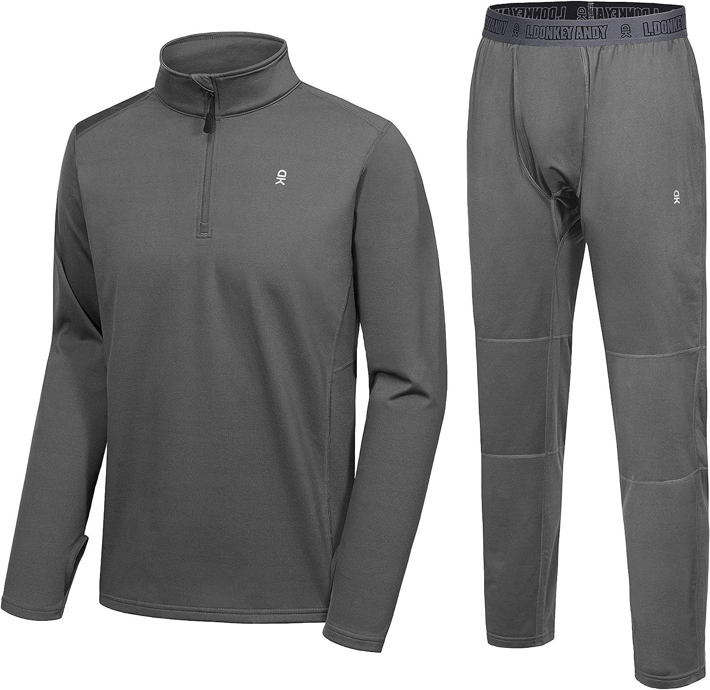 Little Donkey Andy Men's Fleece Lined Pajama Set Long Sleeve Pjs Quarter Zip Lounge Sleepwear Thermal Underwear With Fly
