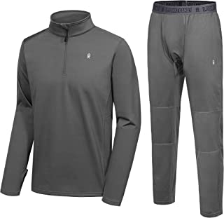 Men's Thermal Fleece Lined Tracksuit Set Quarter Zip Wicking Lightweight Active Top & Bottom with Fly