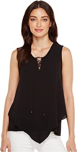Sleeveless Handkerchief Lace-Up Texture Blouse