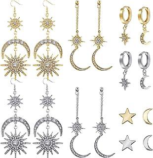 8 Pairs Crystal Moon Star Dangle Hoop Earrings Moon Star Stud Earrings Moon and Sun Drop Earrings