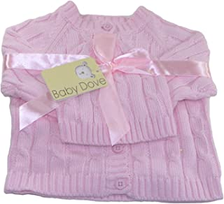 Baby Dove Newborn Cable Knit Cardigan & Beanie Gift Set