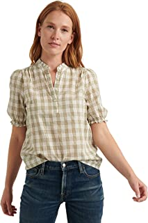 Lucky Brand Women's Short Sleeve Ruffle Collar Feminine Popover Top