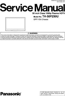 TH-50PZ80U PLASMA HDTV SERVICE MANUAL