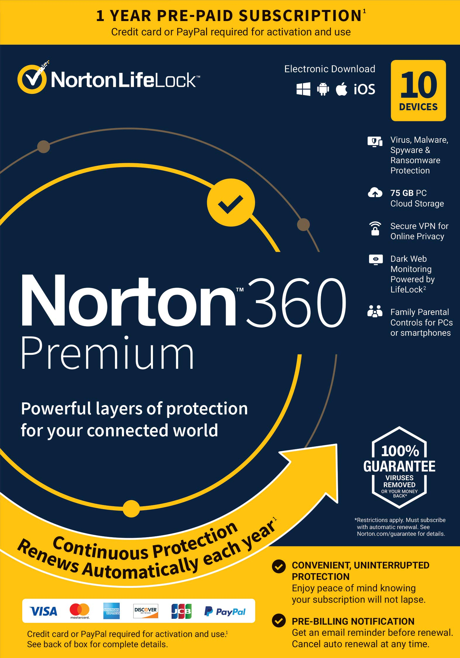 Norton 360 Premium  Antivirus Software for 10 Devices with Auto Renewal - Includes VPN, PC Cloud Backup & Dark Web Monitoring Powered by LifeLock [Key card]