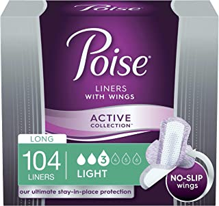Poise Ultra Thin Incontinence Panty Liners with Wings, Active Collection, Light Absorbency, Long, 104 Count (4 Packs of 26) (Packaging May Vary)