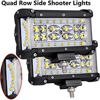 """Side Shooter 4/"""" Cree LED Work Light Bar Combo Driving Reverse 4WD Red Blue Black"""