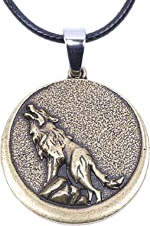 Paw Paw House Mens Norse Viking Wolf Head Necklace for Men Boy Dog Norse Amulet Pendant Handmade Celtic Pagan Jewelry Pewter Gift Arrow Headed