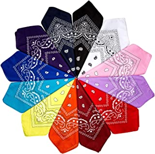 12er Set Paisley Bandana Halstuch 55 x 55 cm Kopftuch Armtuch Mischfarben Haar, Set für Frauen, Männer und Kinder Mode-Accessoires