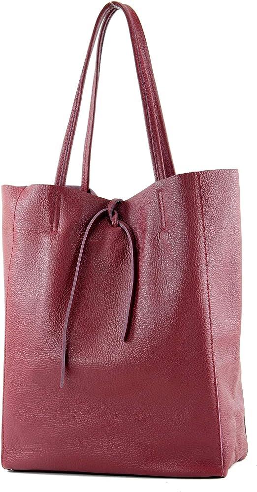 Modamoda de, borsa in pelle, shopper per donna a spalla, rosso purpureo T163PURPURR_afn