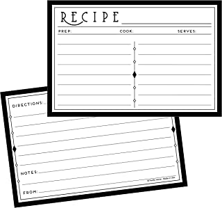 Art Deco 4x6 Double Sided Recipe Cards Set | Made in America | 50 Count