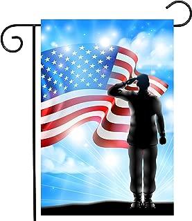ShineSnow American Flag Veterans Day Soldier Military Garden Yard Flag 12