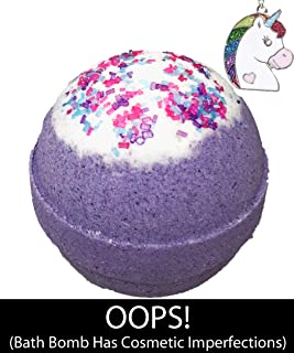 Oops Unicorn Bubble Bath Bomb with Surprise Necklace Inside for Girls. Has Cosmetic Imperfections. Large Scented Spa Fizzy, Fun Color, Lush Scent, Kid Safe, Vegan, Hand made in USA