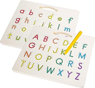 Hautton Magnetic Letters Board, 2 in 1 Alphabet Letter Tracing Board Educational Toy A to Z and a to z Read Learn Writing ...