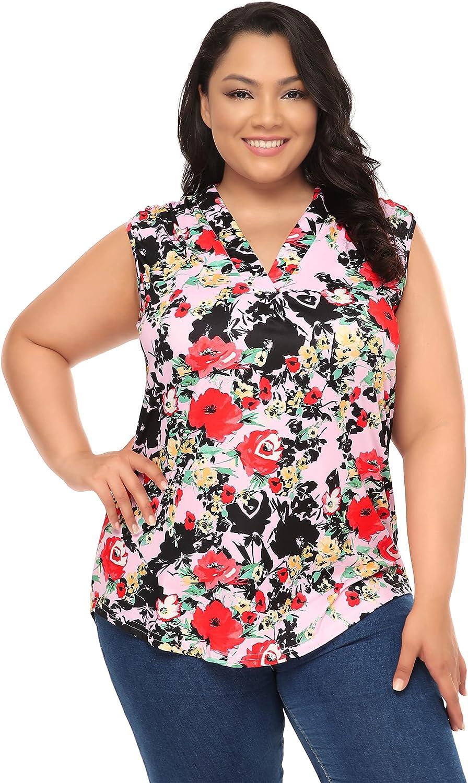 AMZ PLUS Womens Plus Size Tops Womens Loose Fit V Neck T Shirts Tops Side Split Tee Shirts