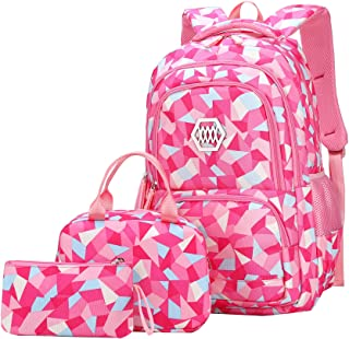 SellerFun Girl Geometric Printed Primary Junior High University School Bag Bookbag 3pcs Backpack Sets(2# Rose-3pcs,35L)