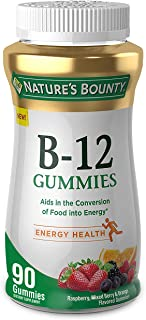 Vitamin B12 Gummies by Nature's Bounty, Dietary Supplement, Supports Energy Metabolism and Nervous System Health, Mixed Be...